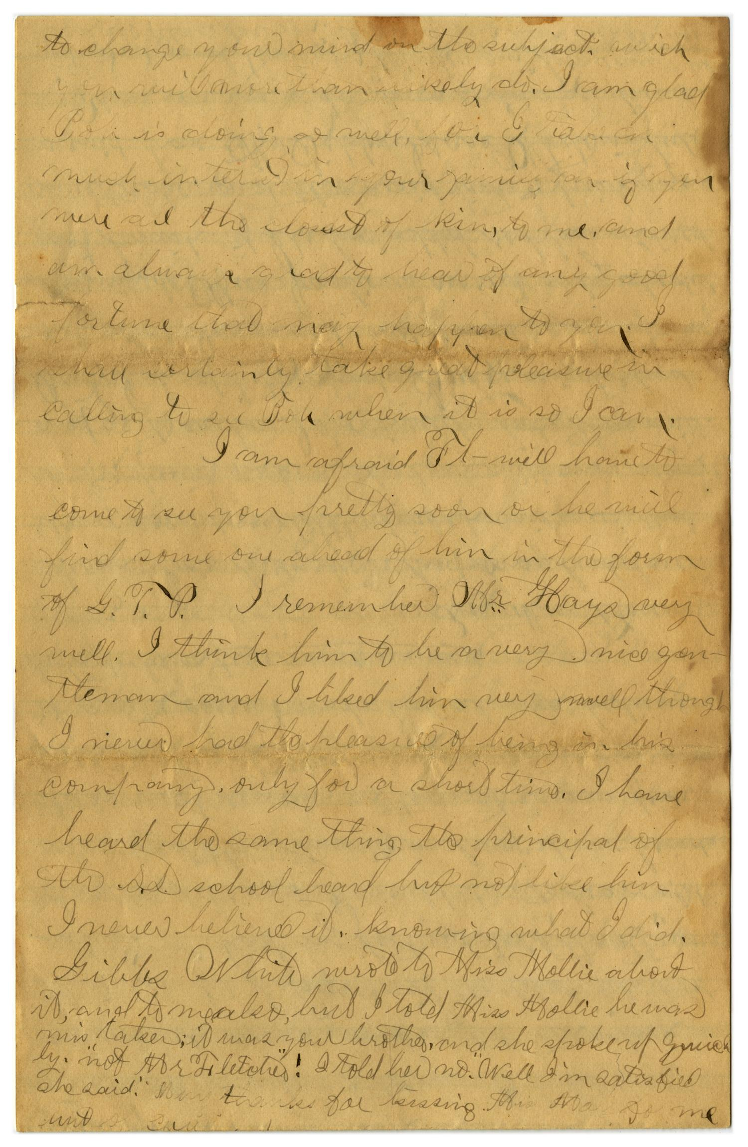 [Letter from John C. Brewer to Emma Davis, April 21, 1879]                                                                                                      [Sequence #]: 6 of 6