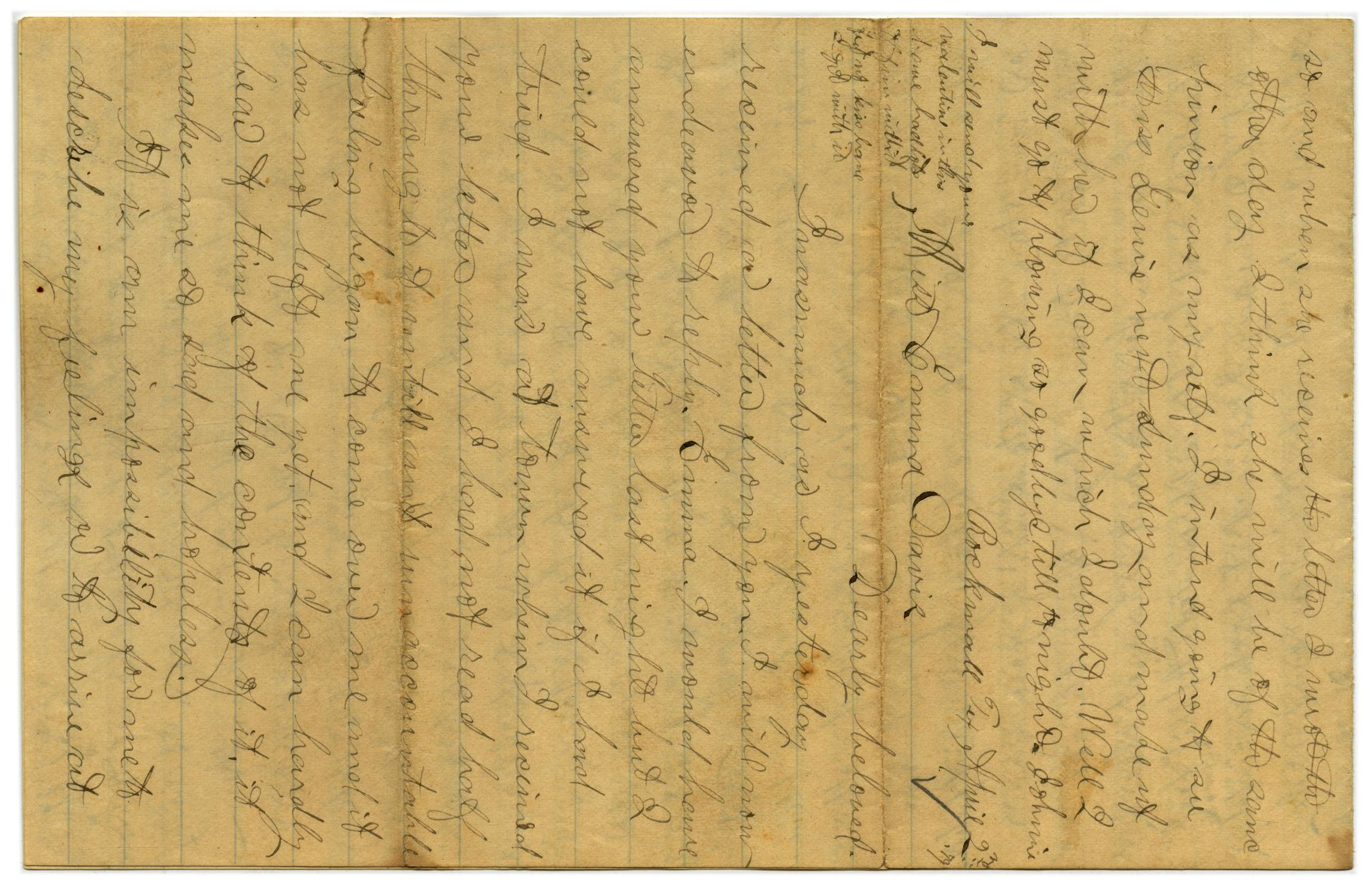 [Letter from John C. Brewer to Emma Davis, April 23, 1879]                                                                                                      [Sequence #]: 1 of 6