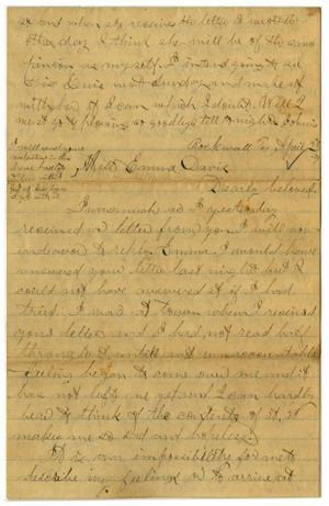 Primary view of object titled '[Letter from John C. Brewer to Emma Davis, April 23, 1879]'.