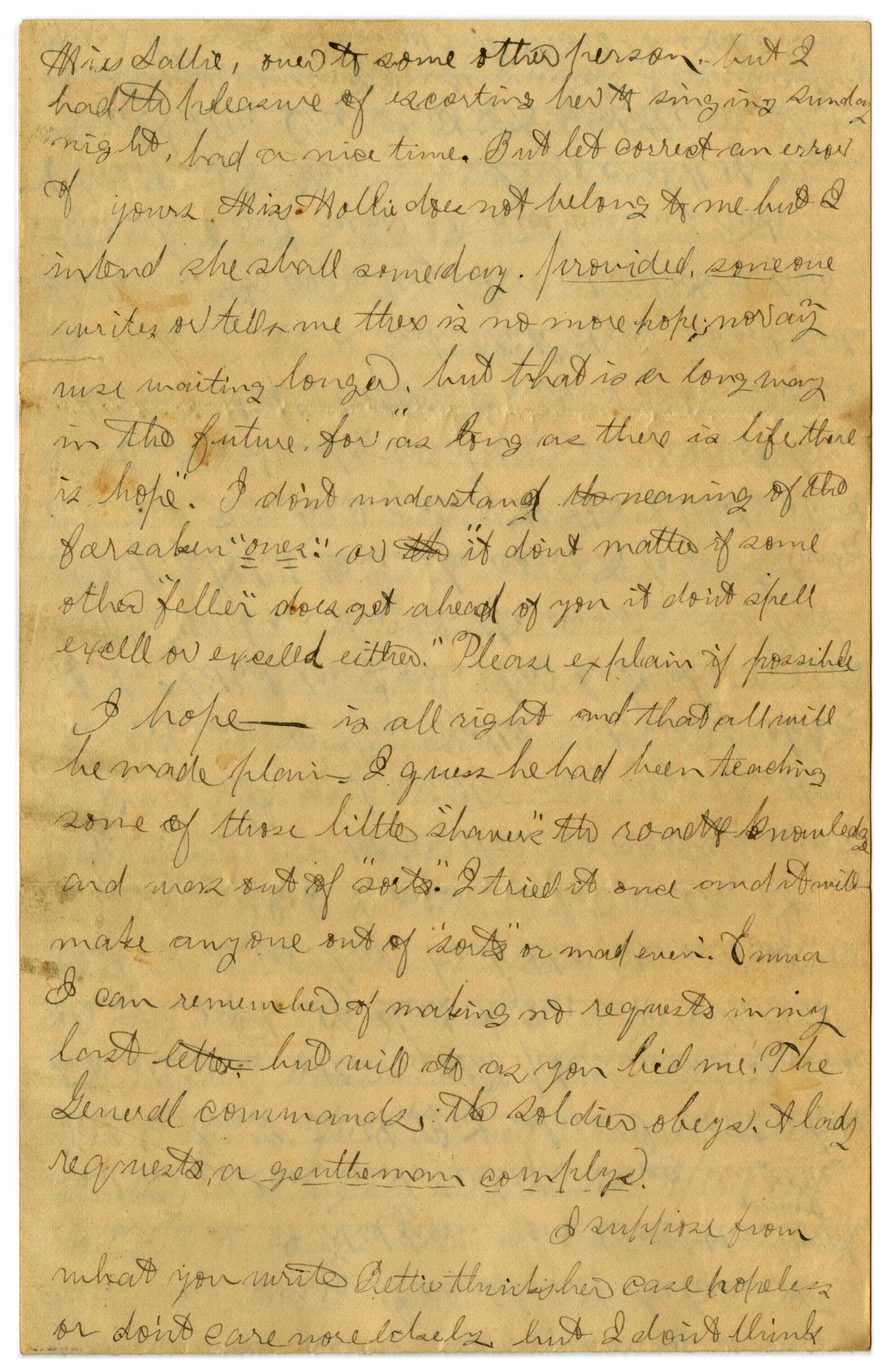 [Letter from John C. Brewer to Emma Davis, April 23, 1879]                                                                                                      [Sequence #]: 3 of 6