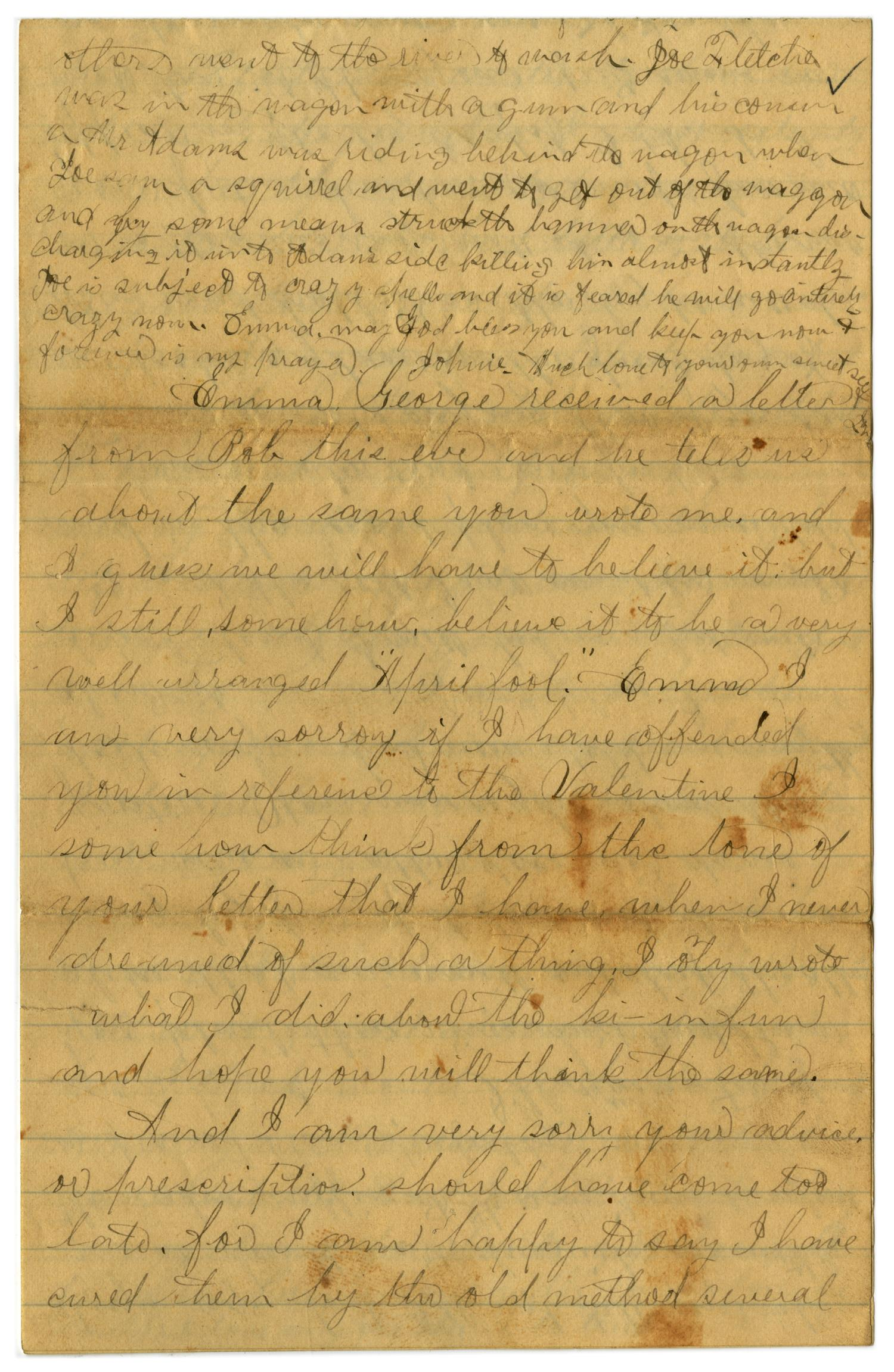 [Letter from John C. Brewer to Emma Davis, April 23, 1879]                                                                                                      [Sequence #]: 4 of 6
