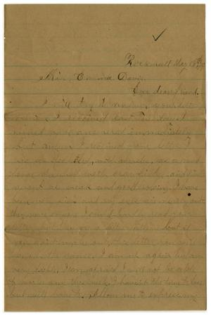 Primary view of object titled '[Letter from John C. Brewer to Emma Davis, May 18 & 19, 1879]'.