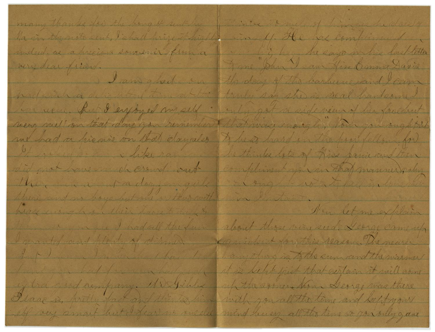 [Letter from John C. Brewer to Emma Davis, May 18 & 19, 1879]                                                                                                      [Sequence #]: 2 of 6