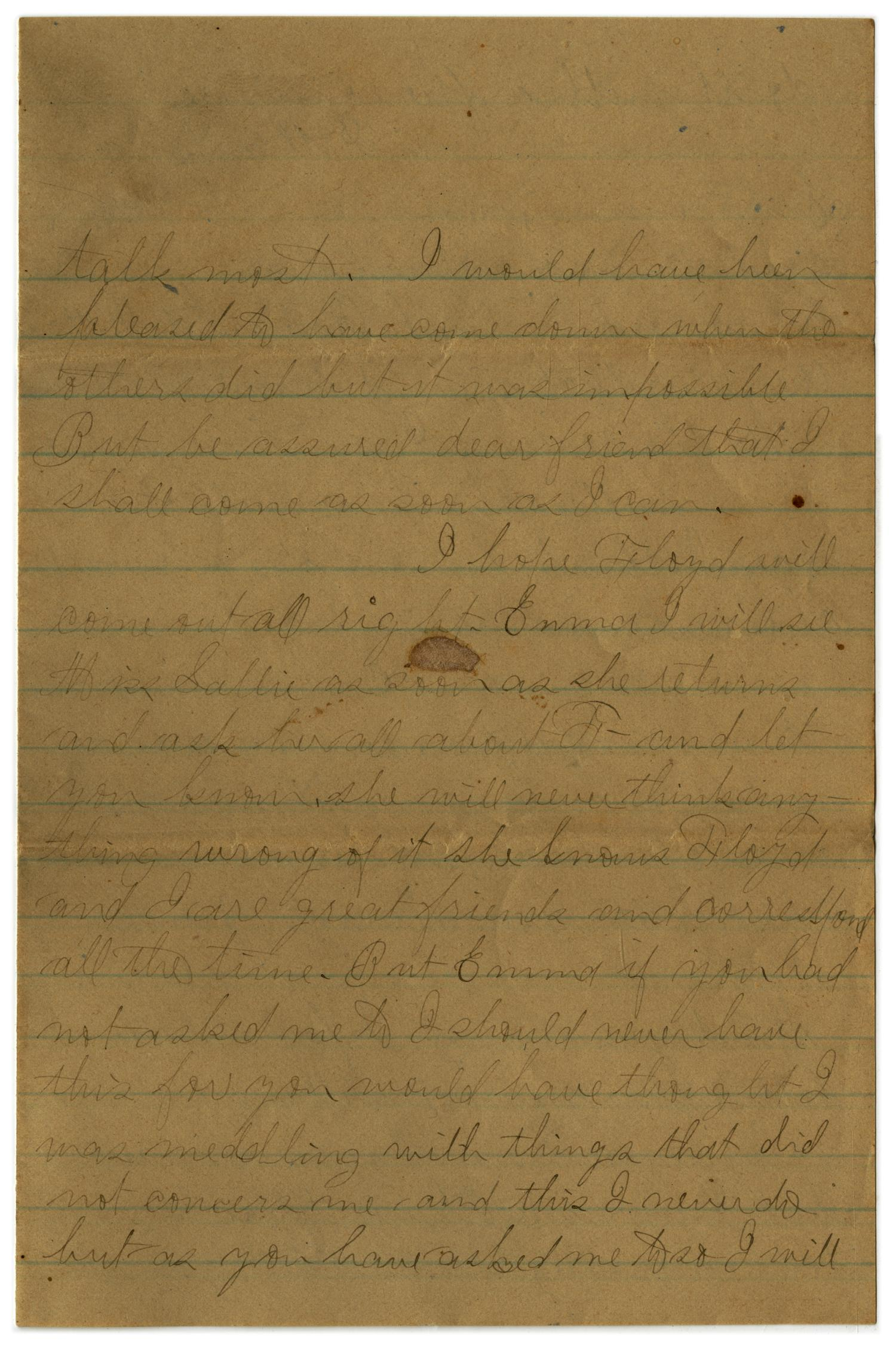 [Letter from John C. Brewer to Emma Davis, May 18 & 19, 1879]                                                                                                      [Sequence #]: 4 of 6