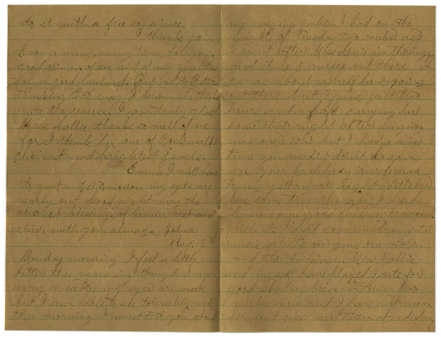 [Letter from John C. Brewer to Emma Davis, May 18 & 19, 1879]                                                                                                      [Sequence #]: 5 of 6