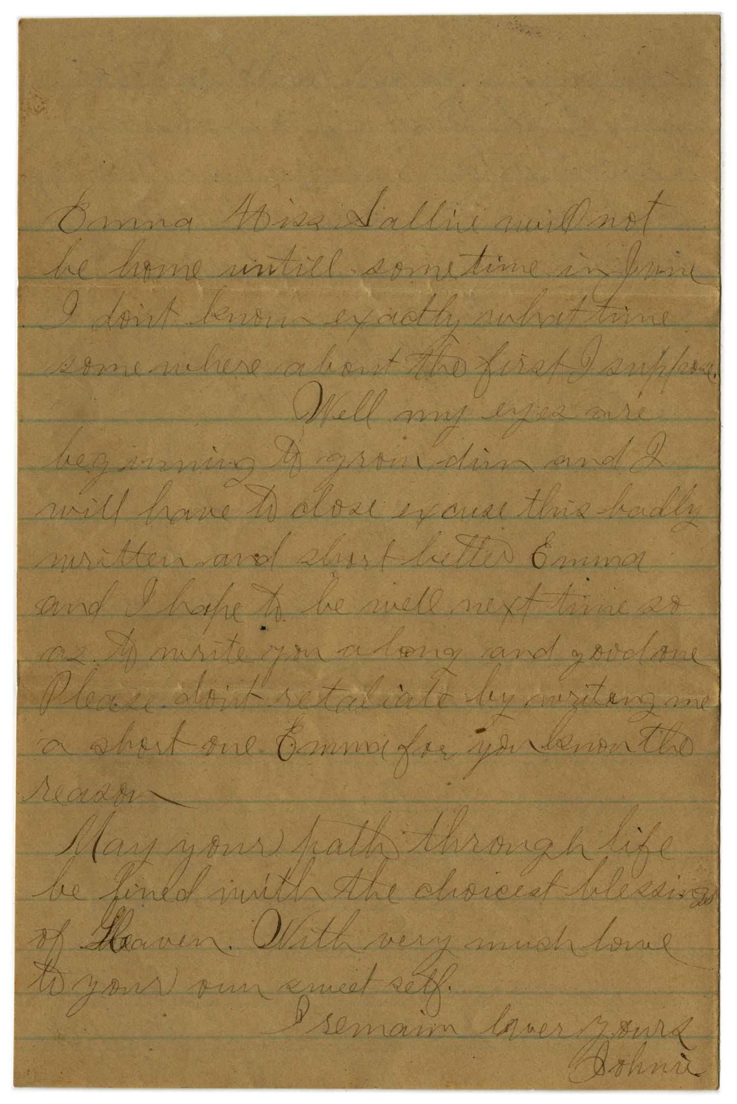 [Letter from John C. Brewer to Emma Davis, May 18 & 19, 1879]                                                                                                      [Sequence #]: 6 of 6