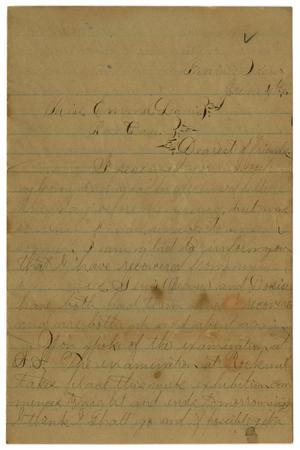 Primary view of object titled '[Letter from John C. Brewer to Emma Davis, June 4, 1879]'.
