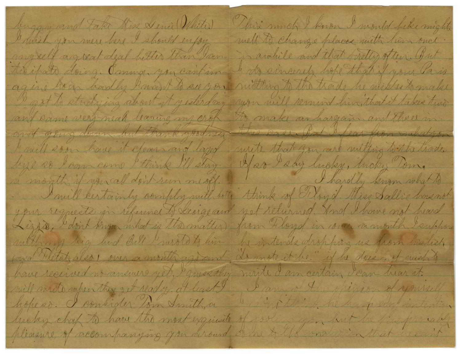 [Letter from John C. Brewer to Emma Davis, June 4, 1879]                                                                                                      [Sequence #]: 2 of 6