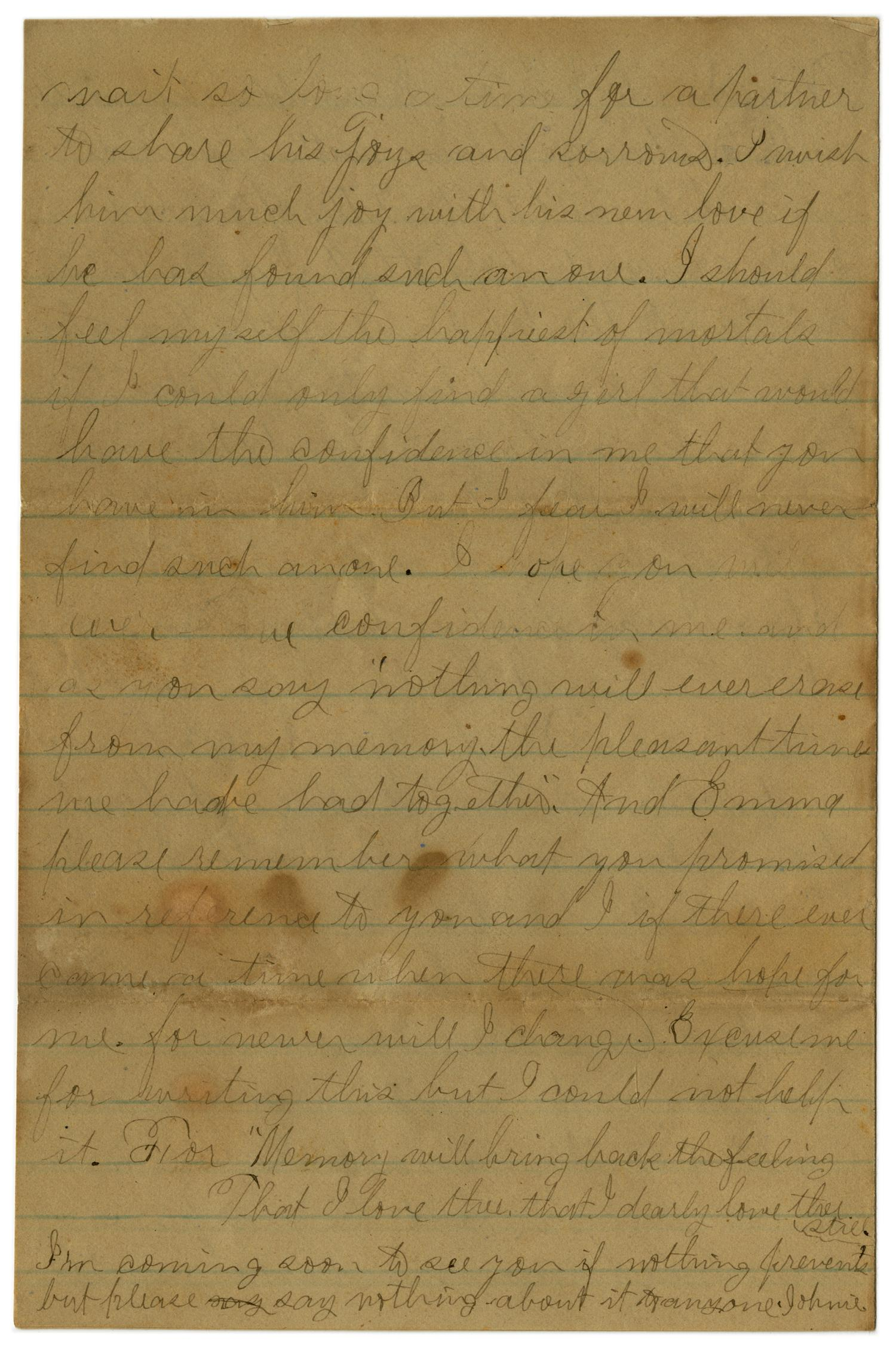 [Letter from John C. Brewer to Emma Davis, June 4, 1879]                                                                                                      [Sequence #]: 3 of 6