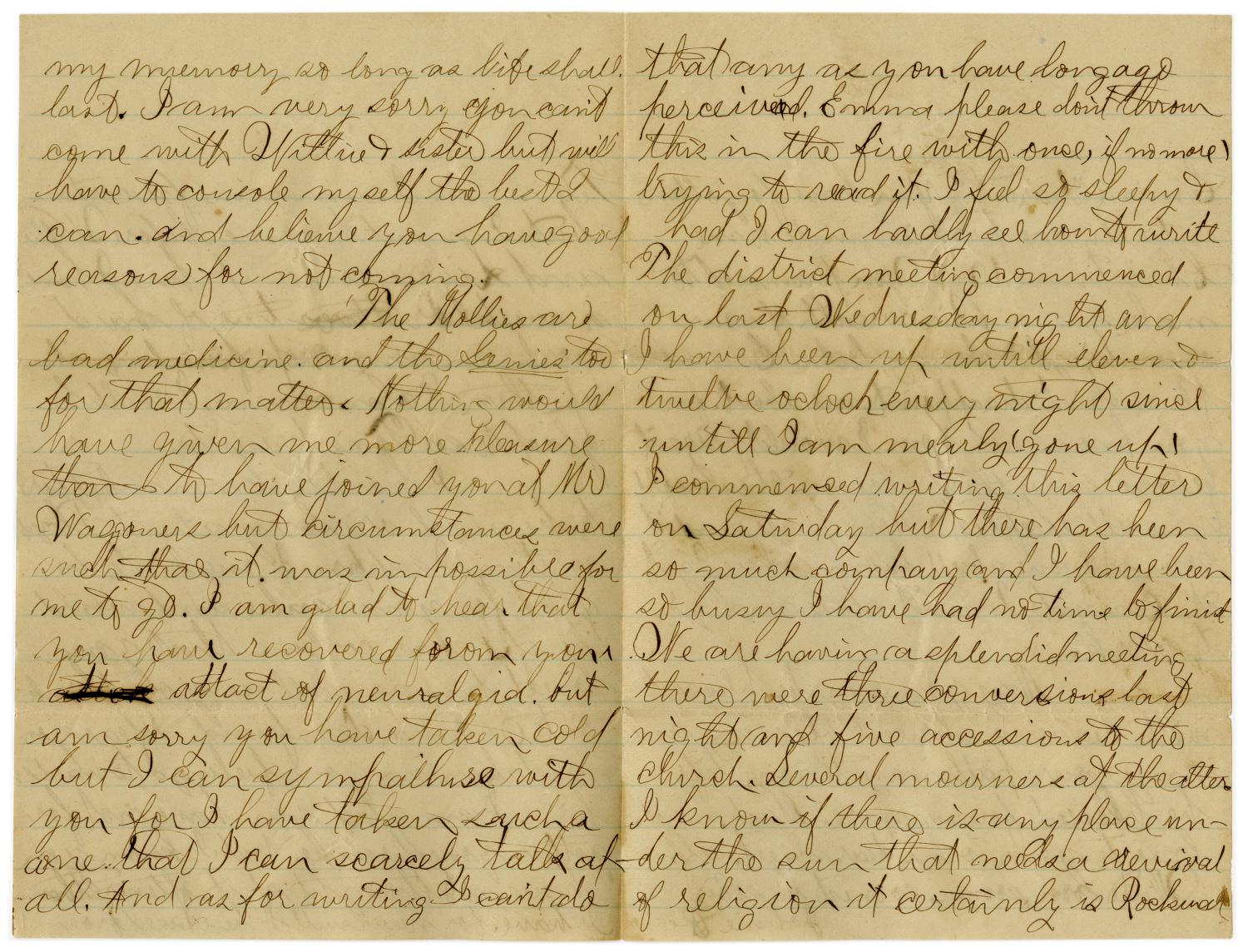 [Letter from John C. Brewer to Emma Davis, June 18, 1879]                                                                                                      [Sequence #]: 5 of 6