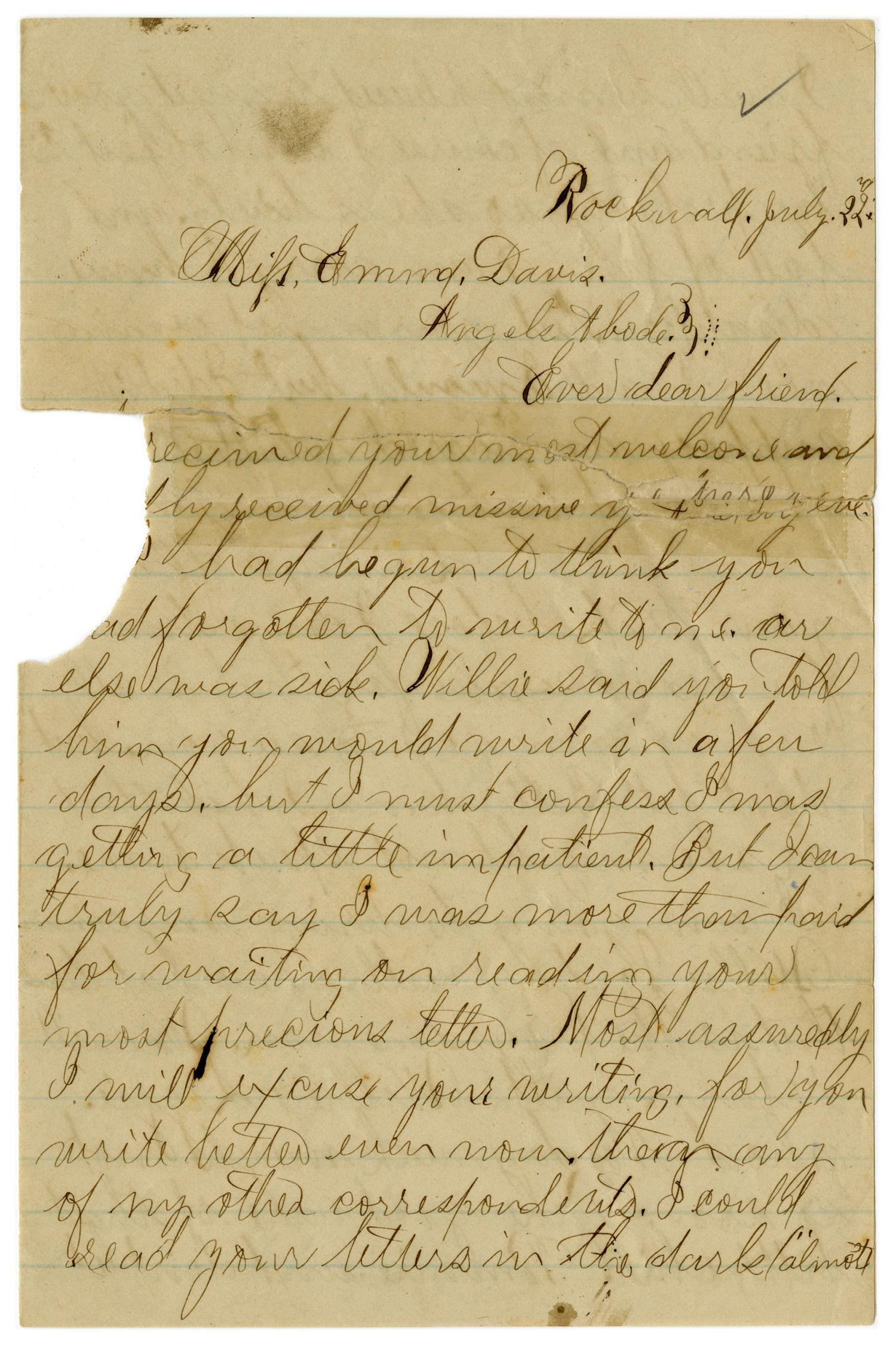 [Letter from John C. Brewer to Emma Davis, July 22, 1879]                                                                                                      [Sequence #]: 1 of 3