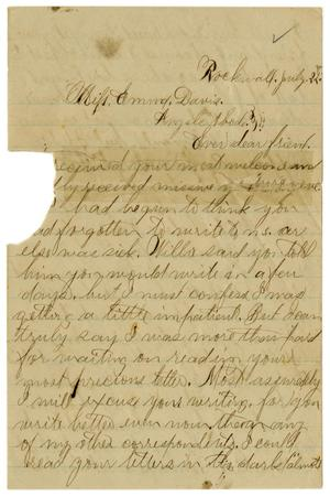 Primary view of object titled '[Letter from John C. Brewer to Emma Davis, July 22, 1879]'.