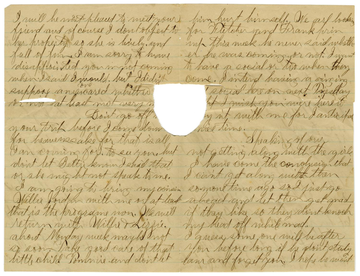 [Letter from John C. Brewer to Emma Davis, July 22, 1879]                                                                                                      [Sequence #]: 2 of 3