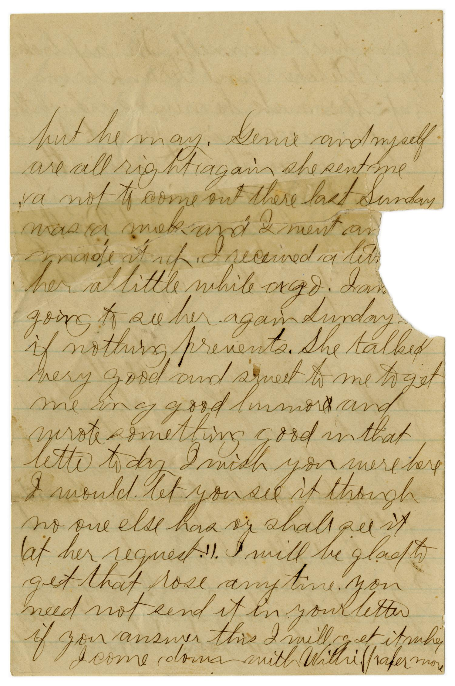 [Letter from John C. Brewer to Emma Davis, July 22, 1879]                                                                                                      [Sequence #]: 3 of 3