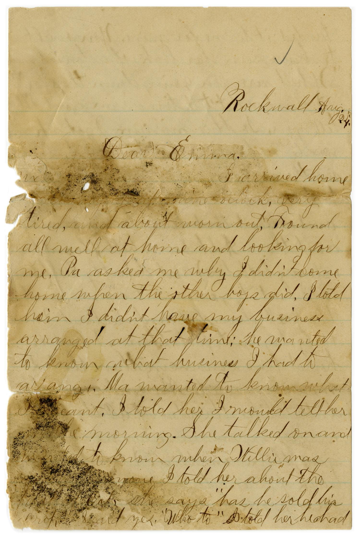 [Letter from John C. Brewer to Emma Davis, August 24, 1879]                                                                                                      [Sequence #]: 1 of 5