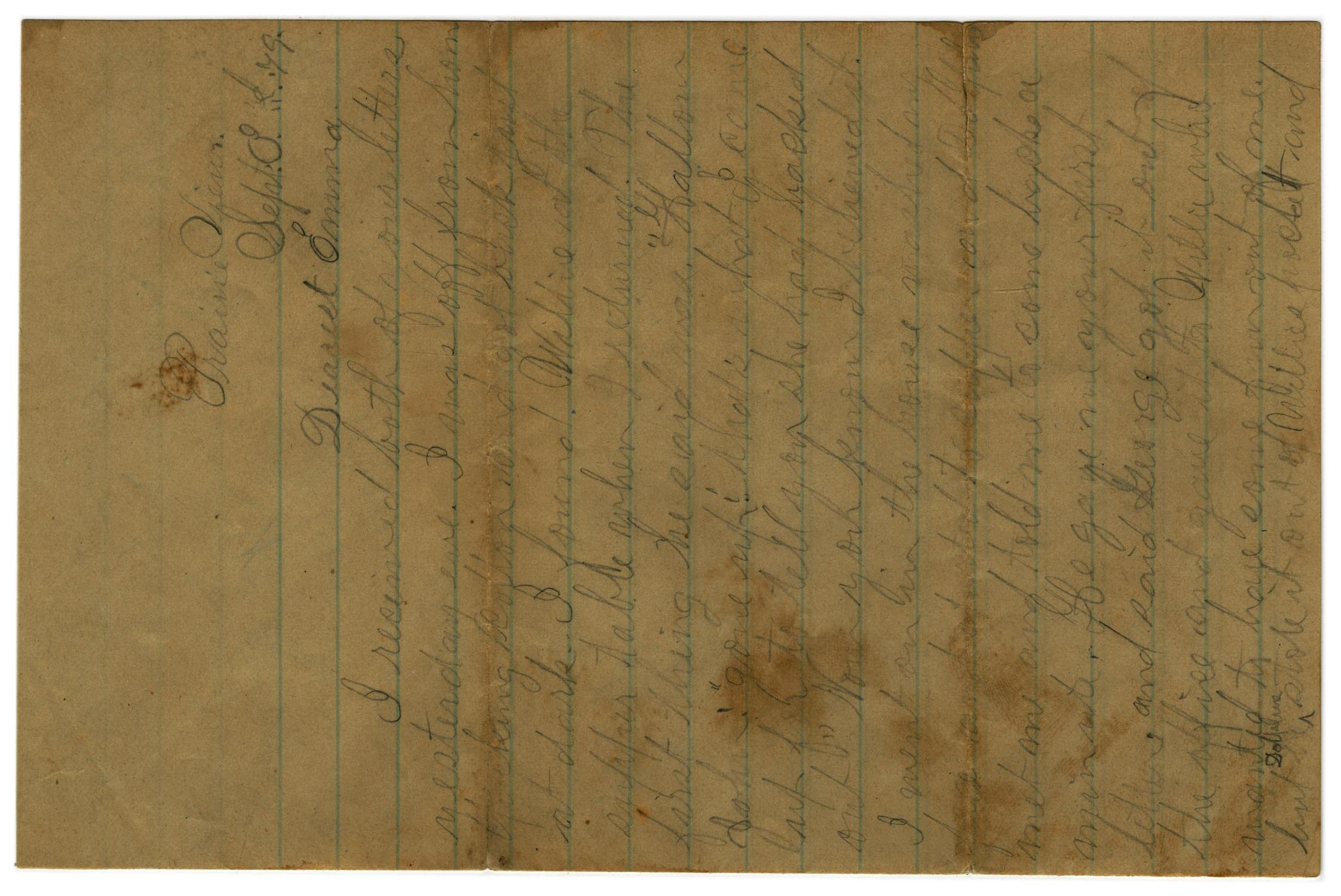[Letter from John C. Brewer to Emma Davis, September 3, 1879]                                                                                                      [Sequence #]: 1 of 6