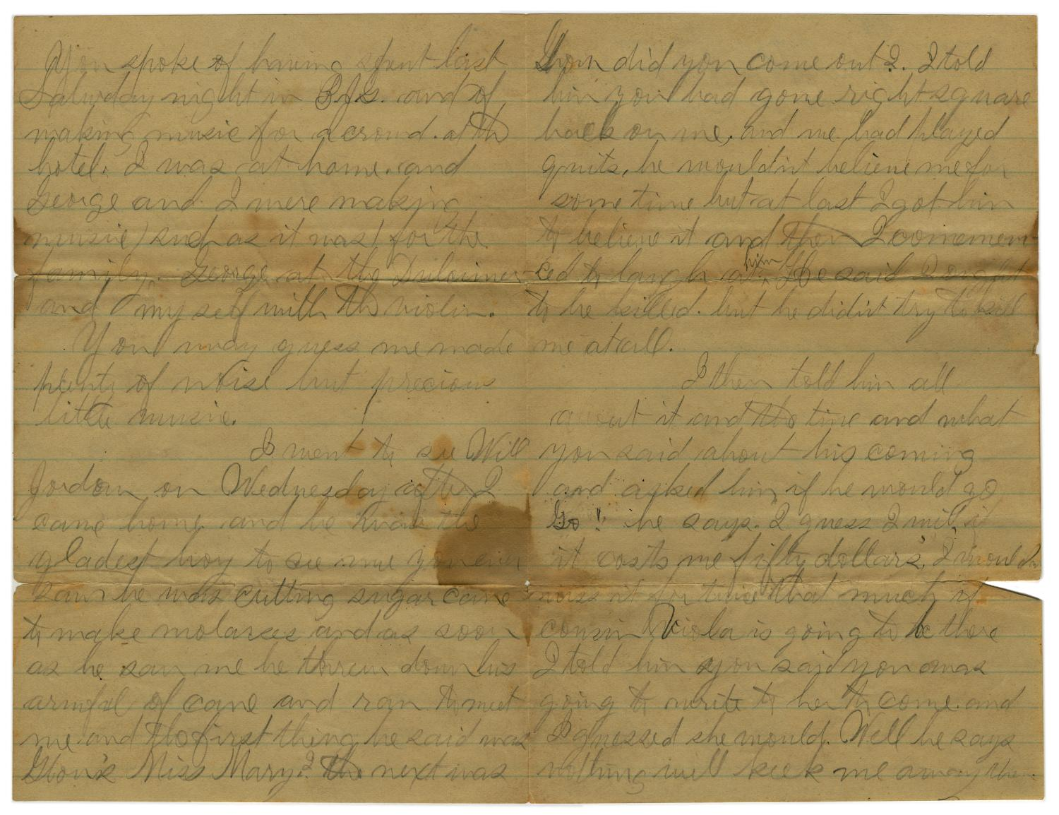 [Letter from John C. Brewer to Emma Davis, September 3, 1879]                                                                                                      [Sequence #]: 5 of 6