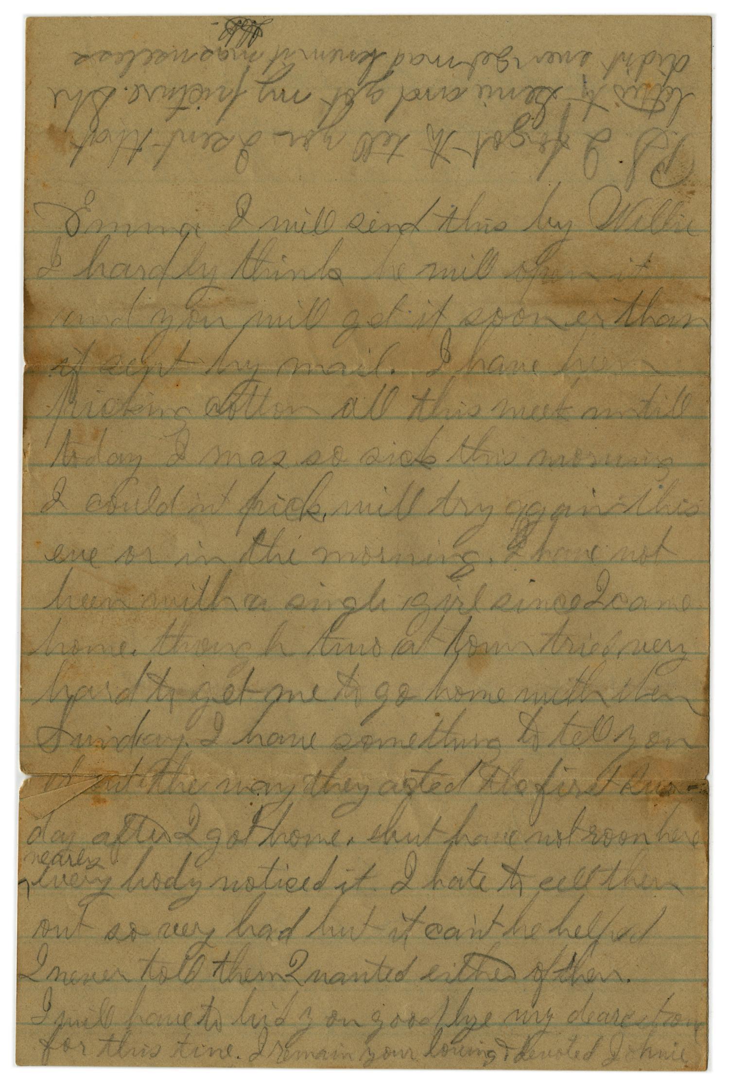 [Letter from John C. Brewer to Emma Davis, September 3, 1879]                                                                                                      [Sequence #]: 6 of 6