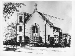 Primary view of object titled '[Drawing of the Sacred Heart Catholic in Richmond]'.