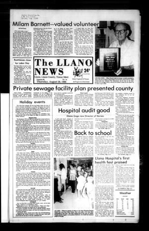 Primary view of object titled 'The Llano News (Llano, Tex.), Vol. 95, No. 44, Ed. 1 Thursday, August 28, 1986'.