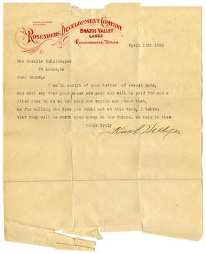 [Letter from Kinch Hillyer to Rosalia Scheidegger - 1920-04-13]
