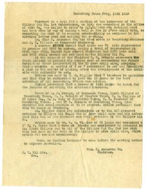 Primary view of object titled '[Minutes for Hillyer Oil Compeny Meeting - 1918-02-14]'.