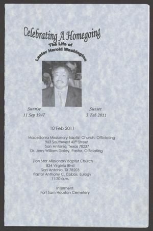 [Funeral Program for Lester Harold Washington, February 11, 2011]