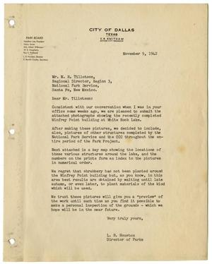 Primary view of object titled '[Letter from L. B. Houston to M. R. Tillotson, November 9, 1942]'.