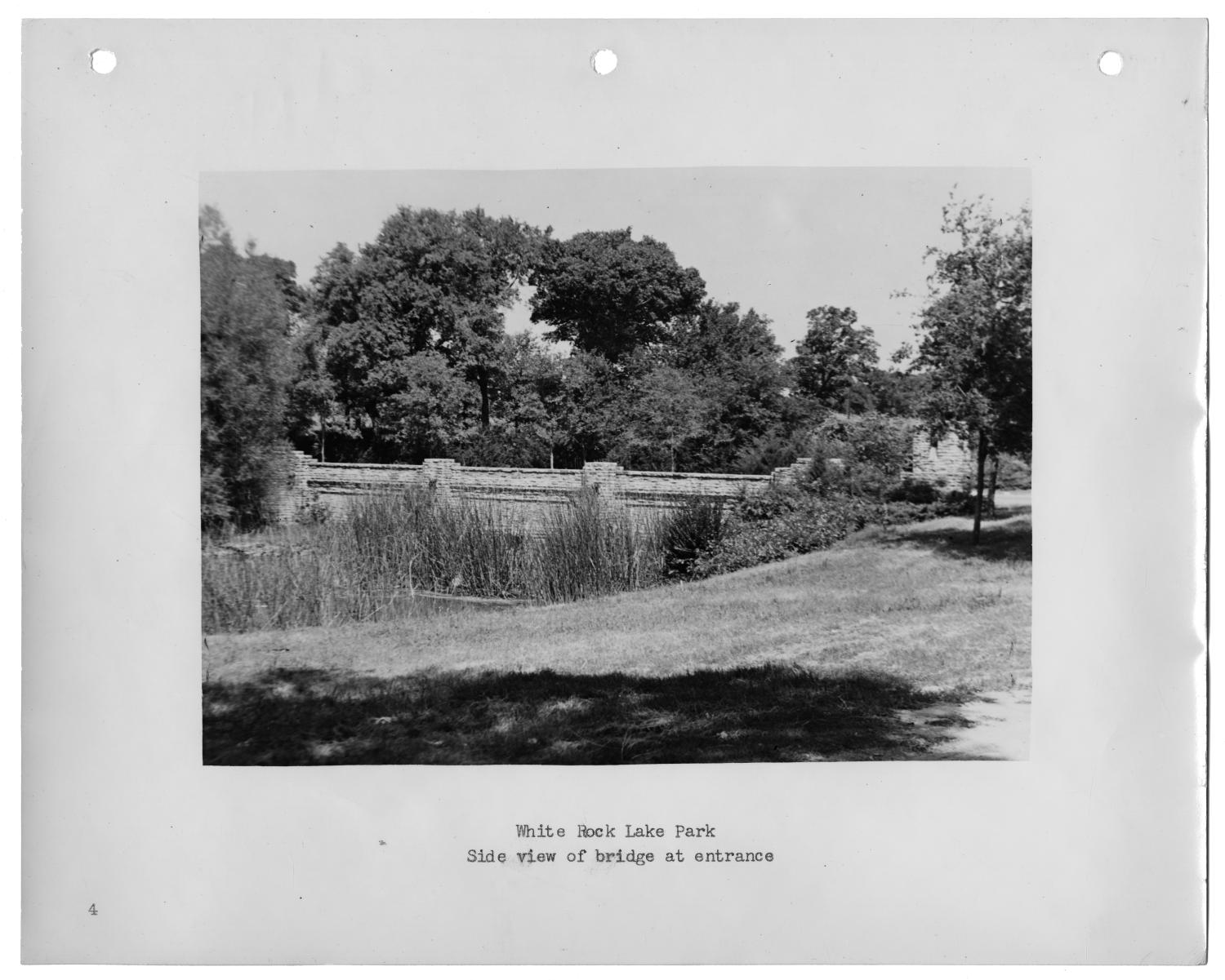[Photograph of White Rock Lake Park Bridge]                                                                                                      [Sequence #]: 1 of 2