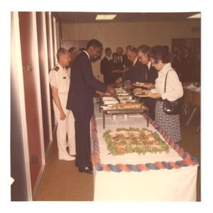 Primary view of object titled '[Photograph of Reception for James E. Johnson]'.