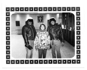 Primary view of object titled '[Photograph of Larry (Duke) Thompson, Kim Thompson and Anthony Johnson]'.