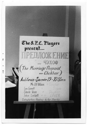 "Primary view of object titled '[Poster for Performance of ""The Marriage Proposal""]'."