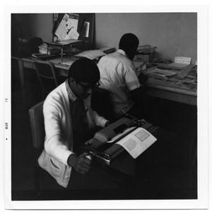 Primary view of object titled '[Students Working on Echo Yearbook]'.