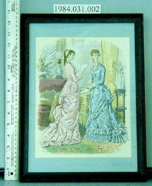 [Framed Godey's Fashion print, one woman is reading]
