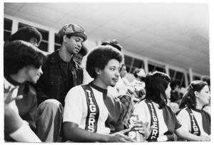 Primary view of object titled '[Cheerleaders at a Game]'.