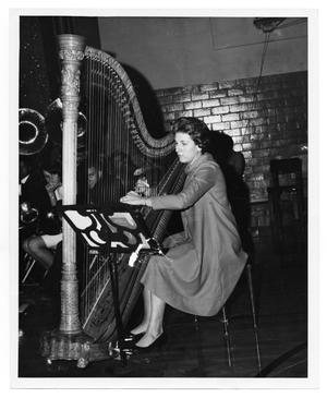 Primary view of object titled '[Harpist Ariele Hall]'.