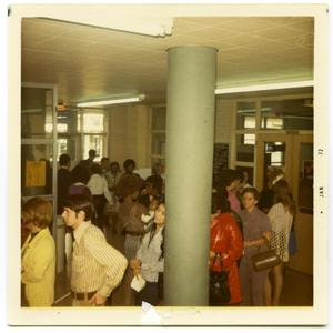 Primary view of object titled 'Line of students waiting to register for Fall classes'.