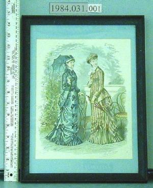 [Framed Godey's Fashion print of two women holding umbrellas]