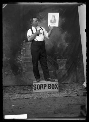 Primary view of object titled '[Man on Soap Box]'.