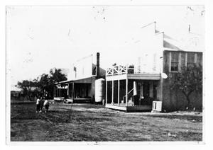 Primary view of object titled 'Poth Bank, Drug Store, and Hotel'.