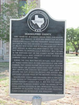 Primary view of object titled 'Historic Plaque, Shackelford County'.