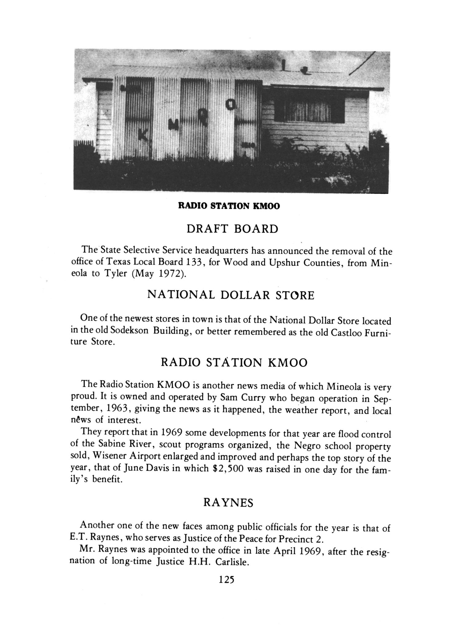 "History of Mineola, Texas; ""Gateway to the Pines""                                                                                                      125"
