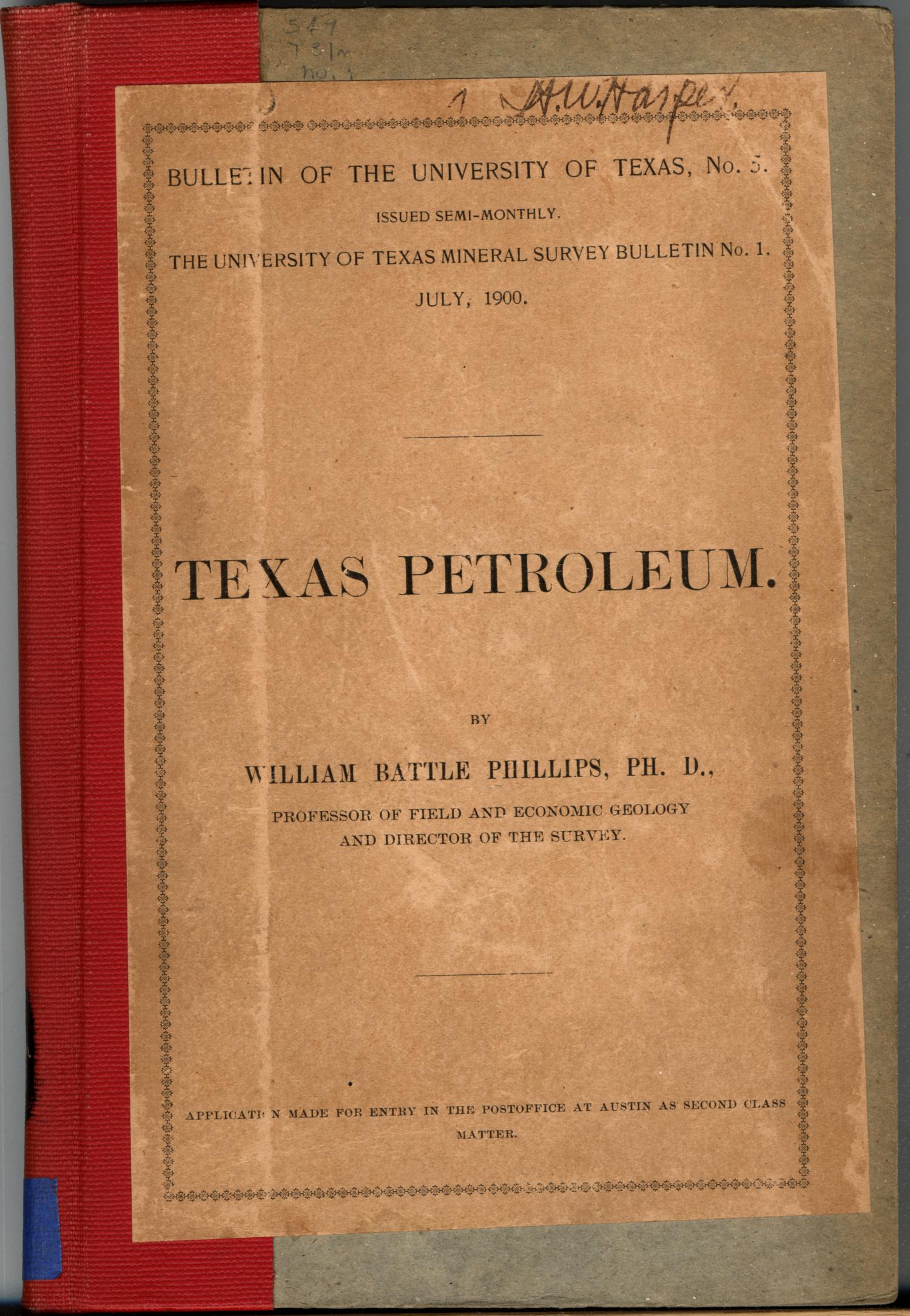 Texas Petroleum.                                                                                                      Front Cover