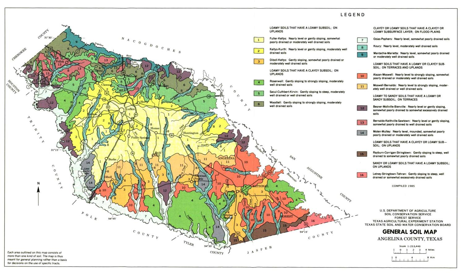 General Soil Map, Angelina County, Texas                                                                                                      [Sequence #]: 1 of 1