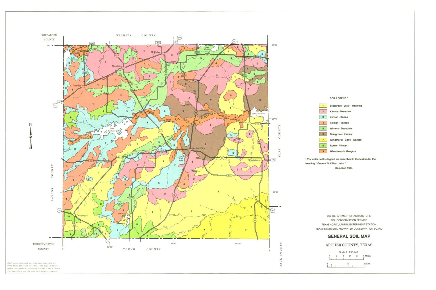 General Soil Map, Archer County, Texas                                                                                                      [Sequence #]: 1 of 1