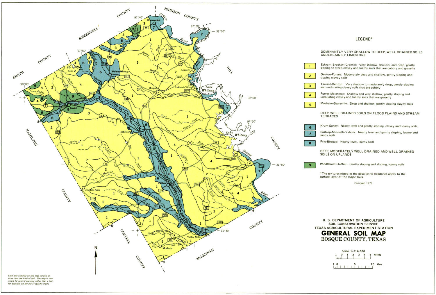 General Soil Map, Bosque County, Texas                                                                                                      [Sequence #]: 1 of 1