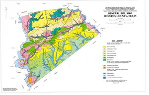 Primary view of object titled 'General Soil Map, Houston County, Texas'.