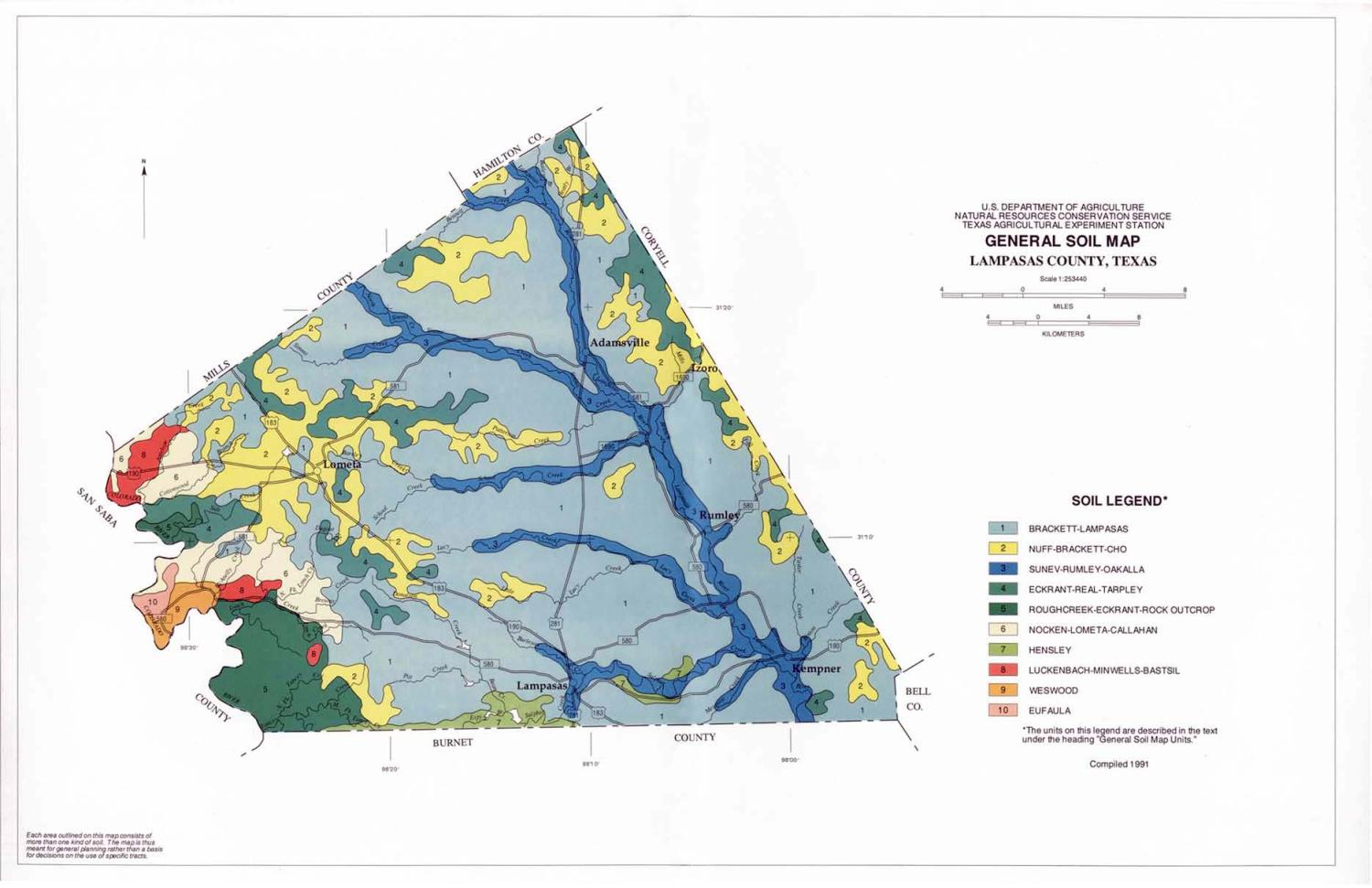 General Soil Map, Lampasas County, Texas                                                                                                      [Sequence #]: 1 of 1