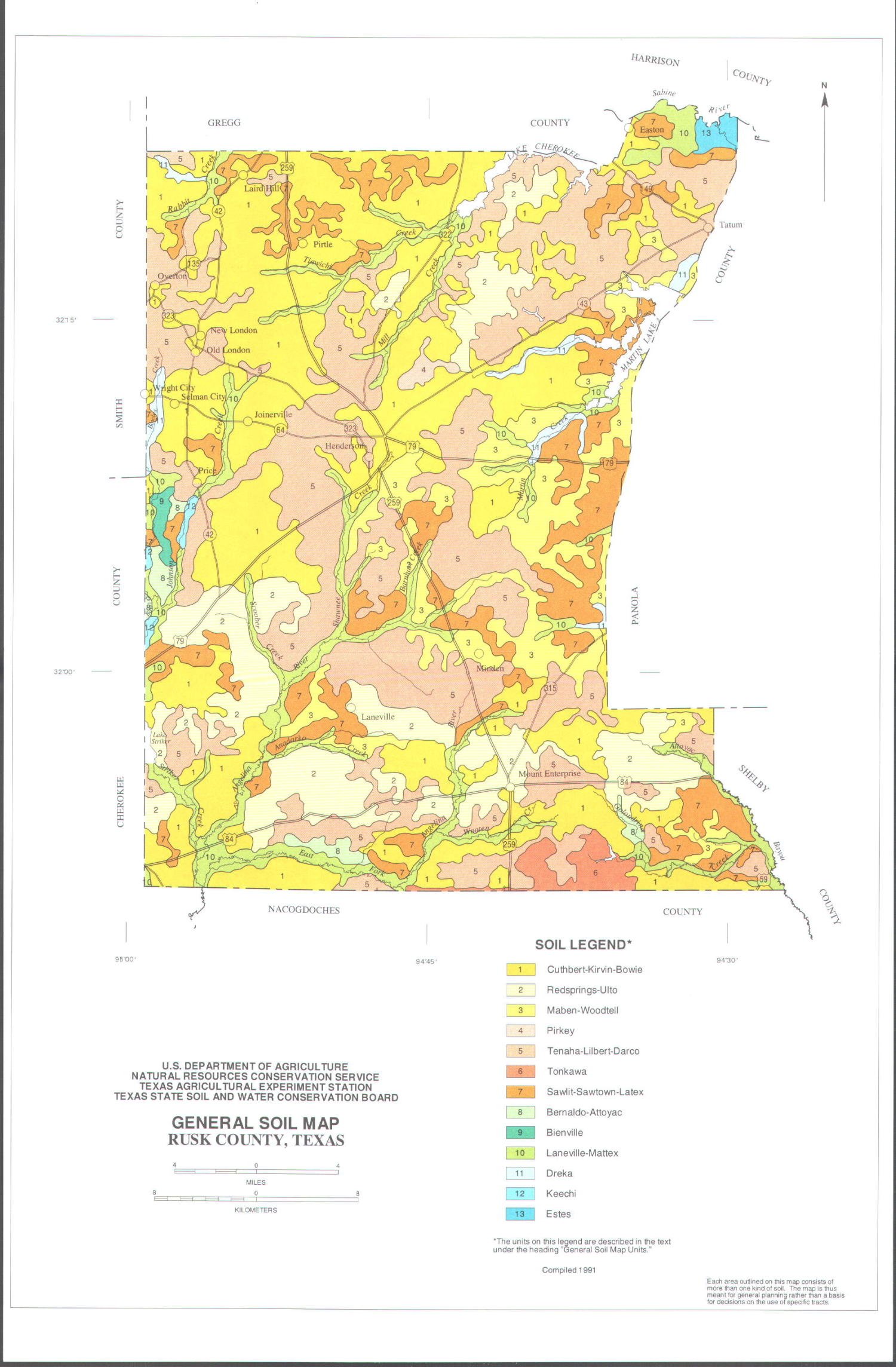 general soil map  rusk county  texas