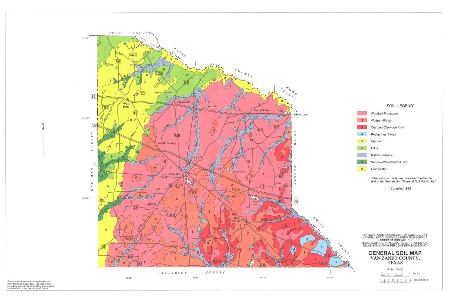 General Soil Map, Van Zandt County, Texas                                                                                                      [Sequence #]: 1 of 1